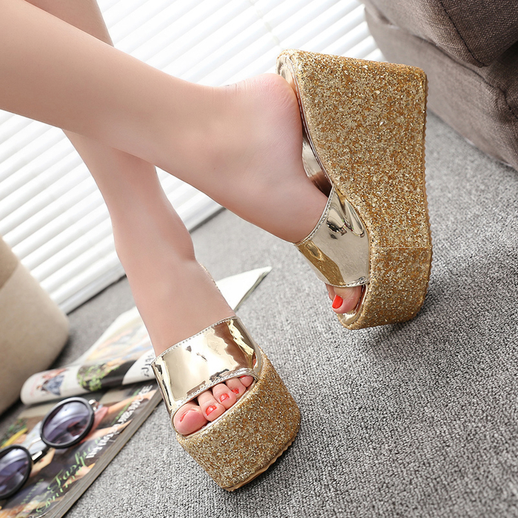 Classics ladies heels slippers gold silver wedge high platform open mouth glitter style casual sexy women's slippers160507-9 - Online Shoes Shop store