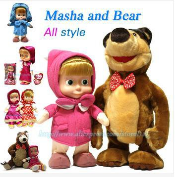 New Masha and bear Doll toyRussian Language Hot Baby Doll Talking Musical Dancing Masha Dolls & Stuffed Plush Toys Gift For Kids(China (Mainland))