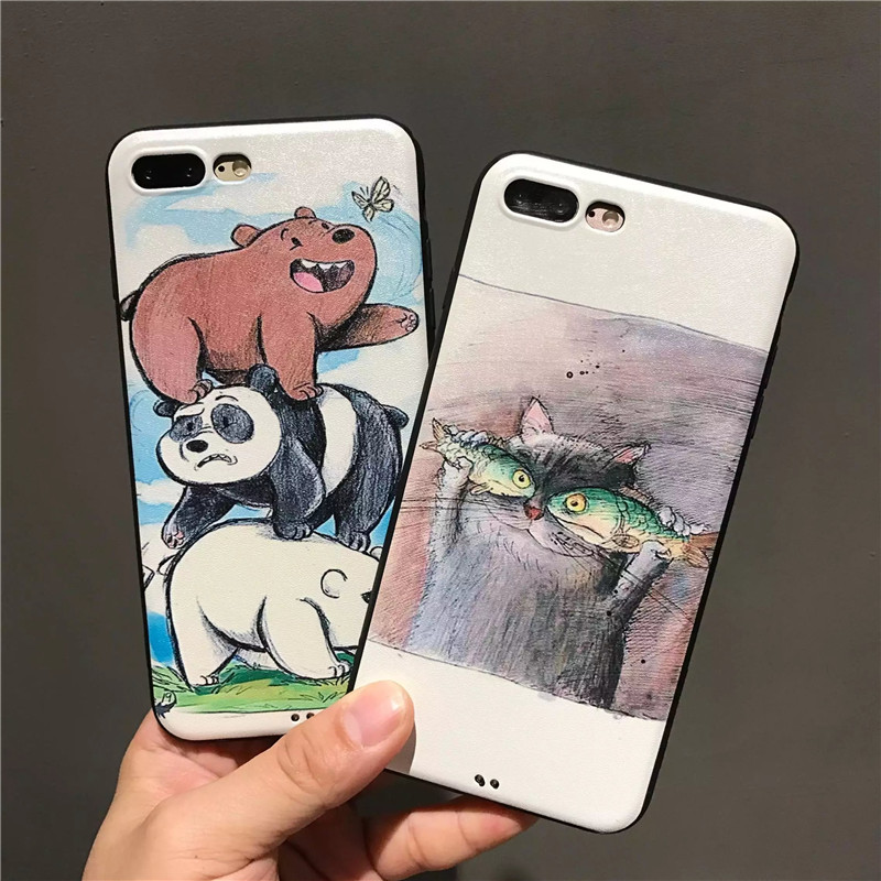 Cute Cartoon Animals Bare cat Fish Phone Case Silk Print With Black Border Cover For Coque Iphone 6 6S 7 7 Plus Phone Back Cover(China (Mainland))