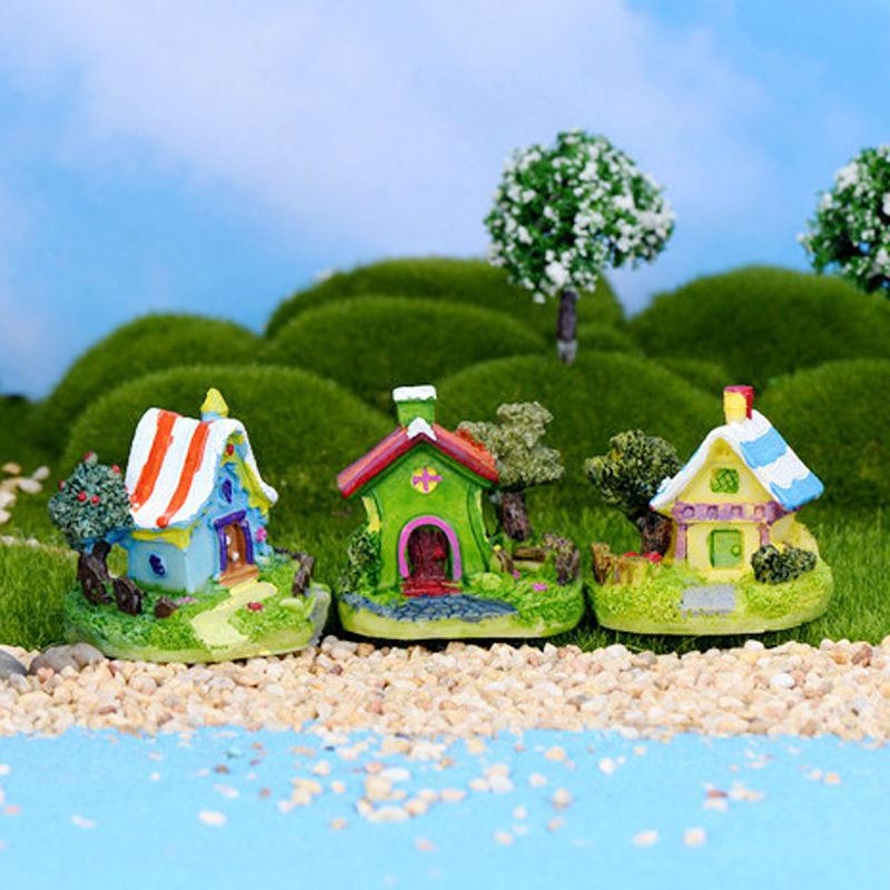 3pcs Villa resin crafts house fairy garden miniatures gnome Micro landscape bonsai for home decor resin fairy house(China (Mainland))