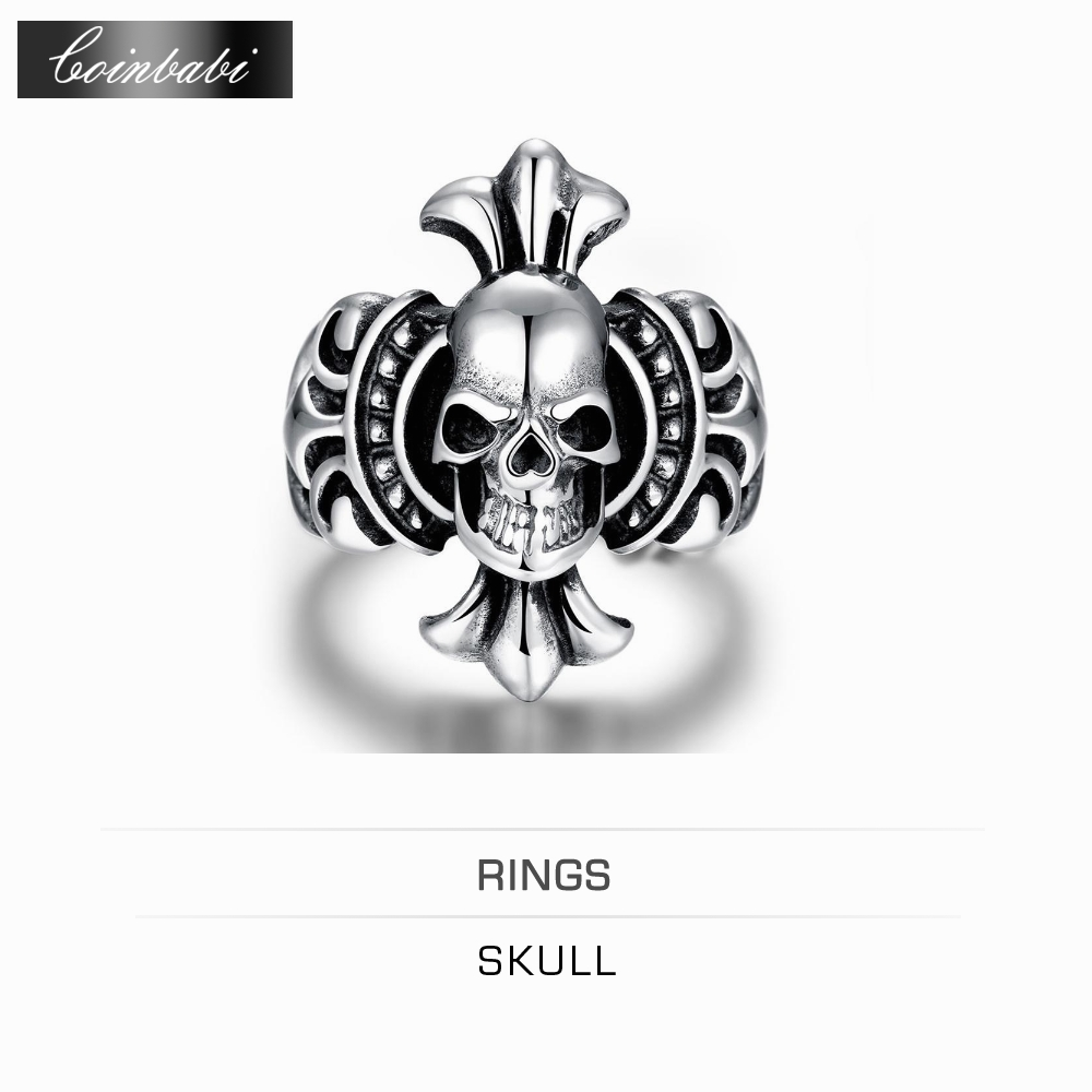 Ring Skull,Punk Titanium & Zirconia Gift For Men,Punk Wind Personality Skeleton Head 316L Steel Men Ring(China (Mainland))
