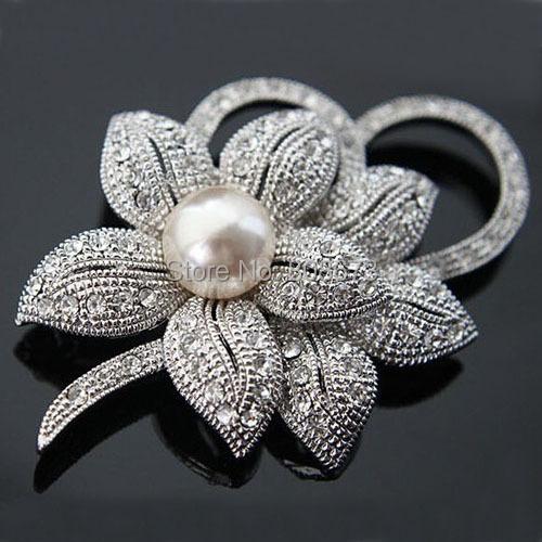 Розничная! Высокое качество винтажный стиль родием кристаллами ясно австрия имитация перл большой с бантом брошь свадебные аксессуары