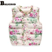 Girls Kids Vests Children's Down Cotton Warm Vest Baby Girls Sweet Floral Waistcoat High Quality Kids Vest Outerwear 2-6 Years