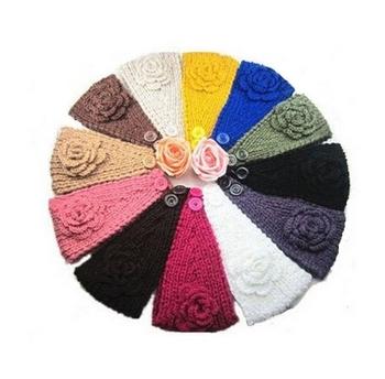 Free shipping 18 colors Women Big Size Knit Headband Lady Crochet winter Ear Warmer Knitted Hair Winter Button Flower Headwrap