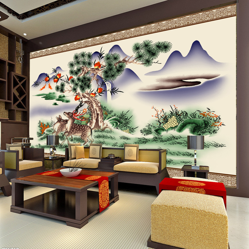 Sela Wei computer hand-painted Chinese wallpaper HD landscape painting the living room sofa TV background mural new(China (Mainland))