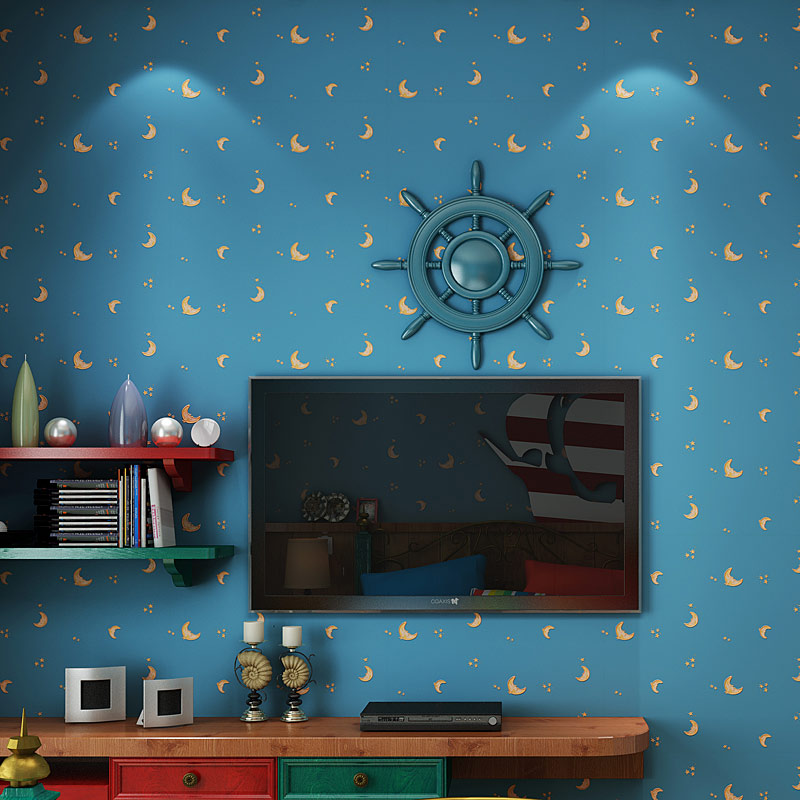 Children's Room Non-woven Wallpaper Moon And The Stars Blue Boys And Girls Bedroom Home Decoration Wallpaper Roll 3D