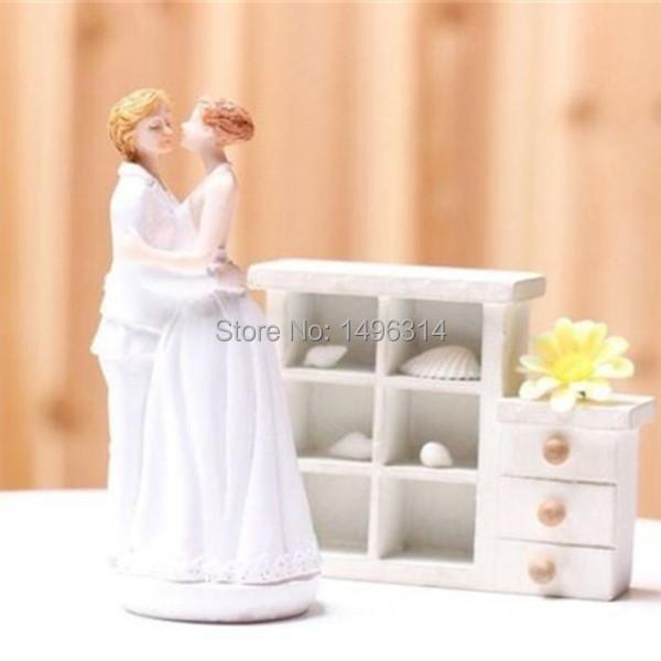 Romantic Wedding Gift For Bride : Fun Wedding Gift Romance Couple Wedding Cake Topper Lesbian Bride ...