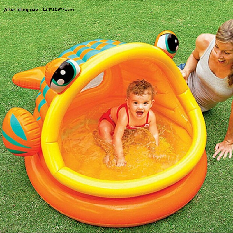2016 Eco-friendly PVC Baby Kids Inflatable Swimming Pool Fish Mouth Open Baby Playing Swimming Pool With Awning(China (Mainland))