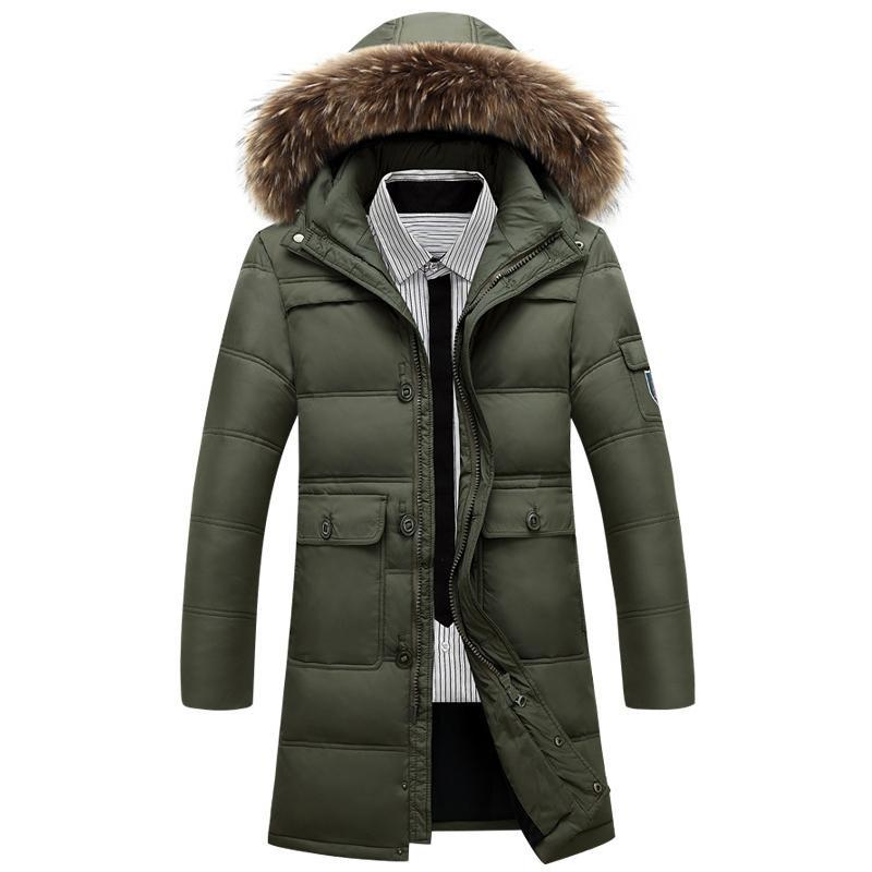 Men's Winter Long Duck Down Jackets Men Casual Thicken Warm Down Coats Hooded Down Jackets Outdoor Snow Outerwear Coats Size 4XL