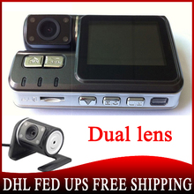 200 pieces Wholesale HD 720P Dual Lens Dashboard Car Vehicle Camera Video Recorder DVR CAM G-sensor (China (Mainland))