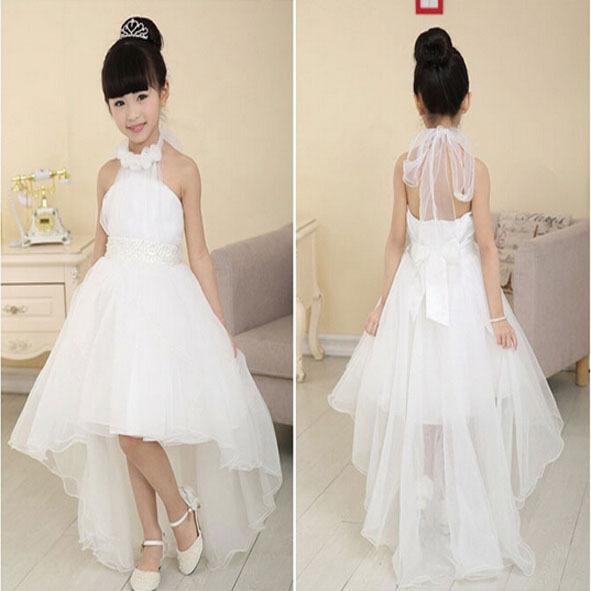 2015 high-grade flower girl wedding party performance costume children brand clothing girl dresses white(China (Mainland))