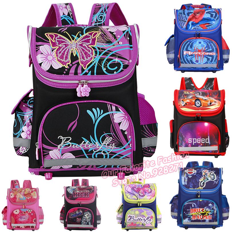 Butterfly Girls School Bags Orthopedic Princess Schoolbags Children Backpack Winx Monster High Primary Bookbag Mochila Infantil(China (Mainland))