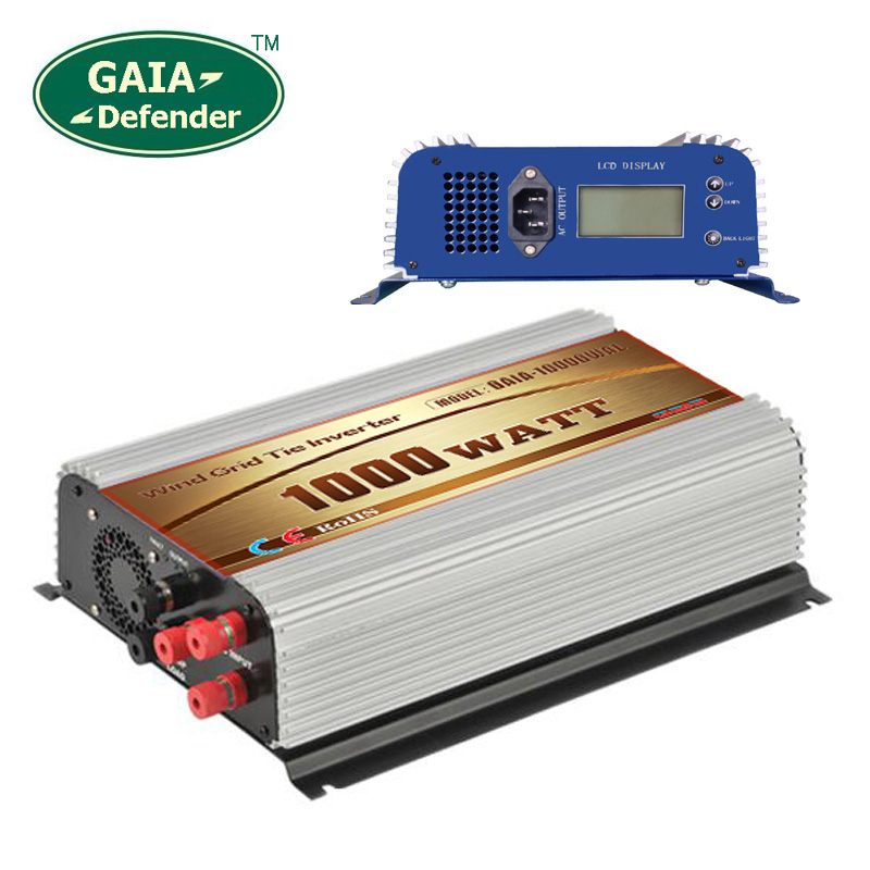 1000W Wind Grid Tie Inverter with LCD/Dump Load Controller for 45-90v wind turbine AC 110V 120V 3 phase generator(China (Mainland))