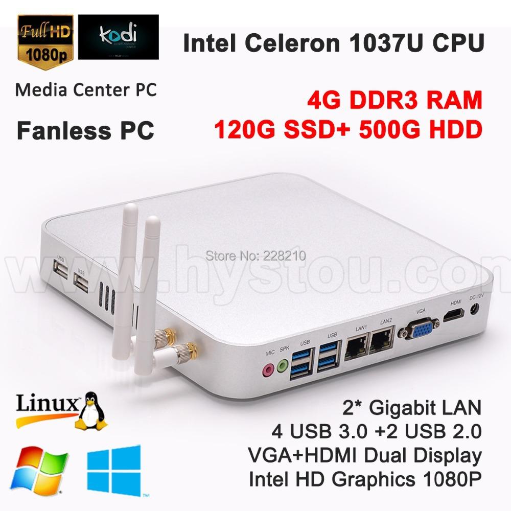 Mini Computer PC Windows 7 4G RAM 128G SSD and 500G HDD Gigabit Lan fanless Celeron 1037U 1080P USB 3.0 TF SD 3D marks(China (Mainland))