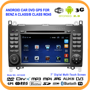 Android Car Radio GPS DVD For Benz A class/B class W245 Android Car DVD Player GPS Wifi+USB 3G 512M RAM,BT,DVR,OBD