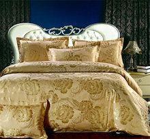 新しいジャガード高級シーツトリビュートシルクサテン4個綿サテン寝具セット/キングサイズの羽毛布団カバーセット送料無料
