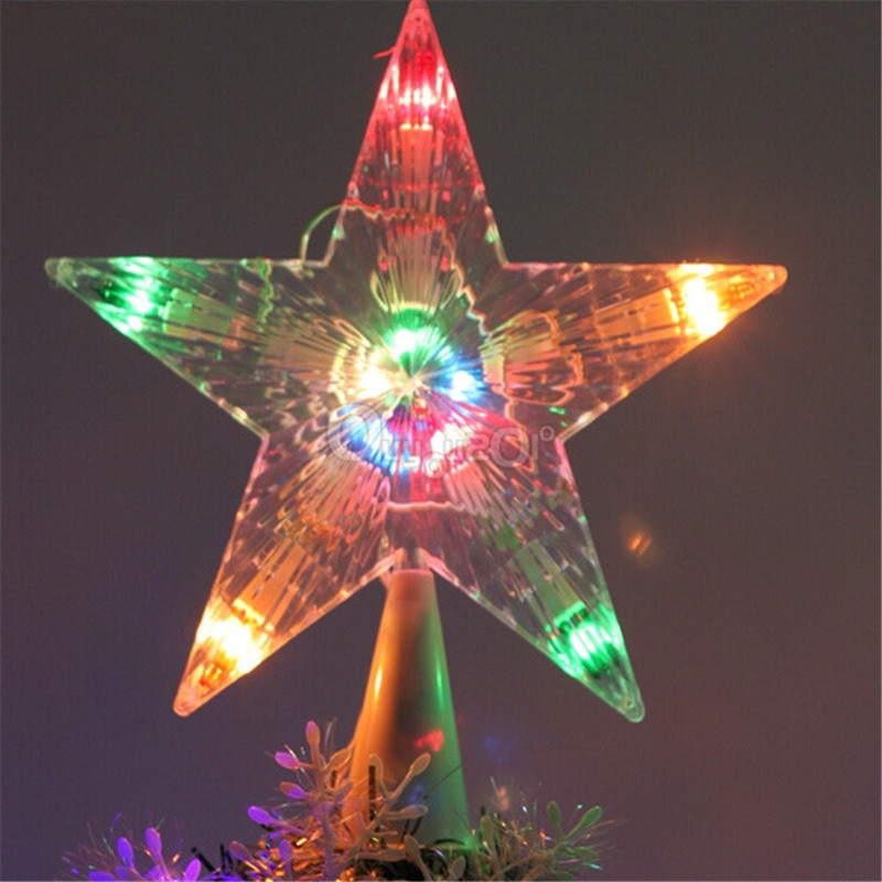 High Quality NEW Colorful Changing Christmas Xmas Tree Topper Star Light LED Lamp Decoration Indoor Outdoor Ornament(China (Mainland))