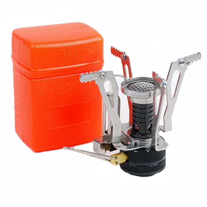 Mini Portable Outdoors Picnic Gas BBQ Foldable Camping Steel Stove With Case RL21-0004(China (Mainland))