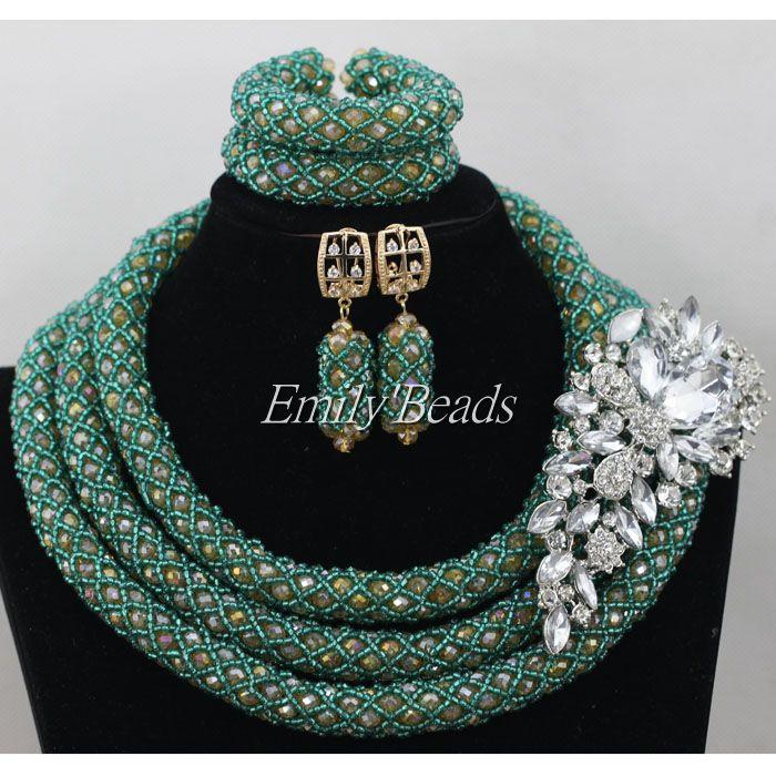 Здесь можно купить  Bridal Jewelry Sets Teal Green Nigerian Wedding African Beads Jewelry Set Crystal Women  Necklace Set   AIJ401  Ювелирные изделия и часы
