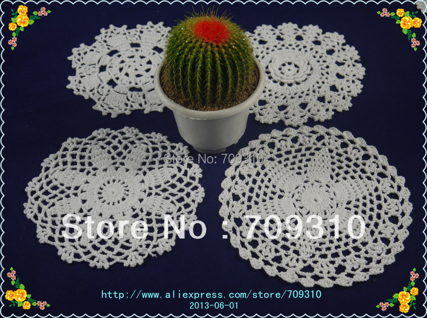 Free Shipping hand made crochet doily table cloth , 4 style 11 colors custom crochet cup mat round 15-16cm 40PCS/LOT(China (Mainland))