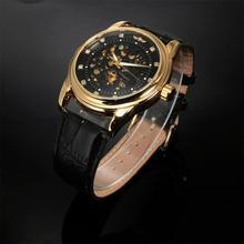 Men Classic Transparent Steampunk Skeleton Mechanical Leather Watch