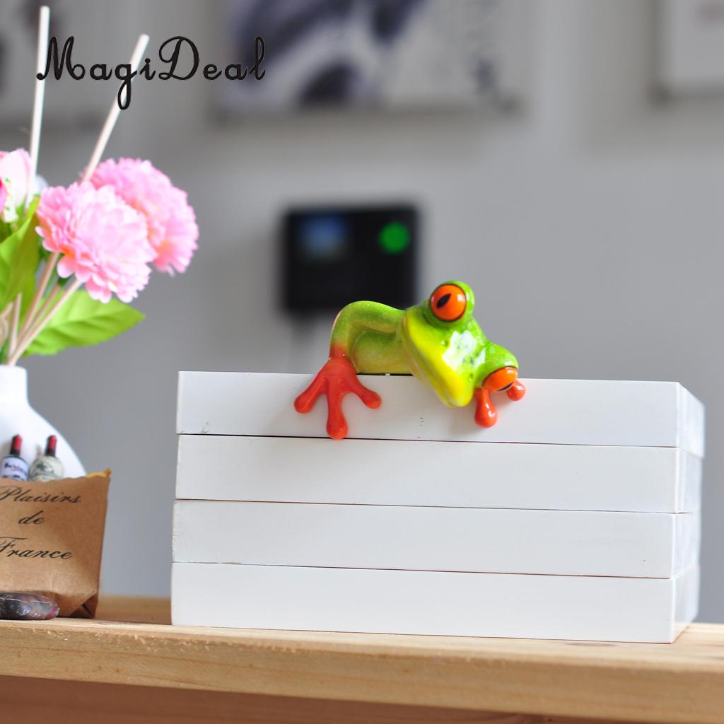 MagiDeal Resin Creative 3D Craft Frog Figurine Decoration Ornament Statue Home Garden Decor Desk Table Shelf Figurines Gift