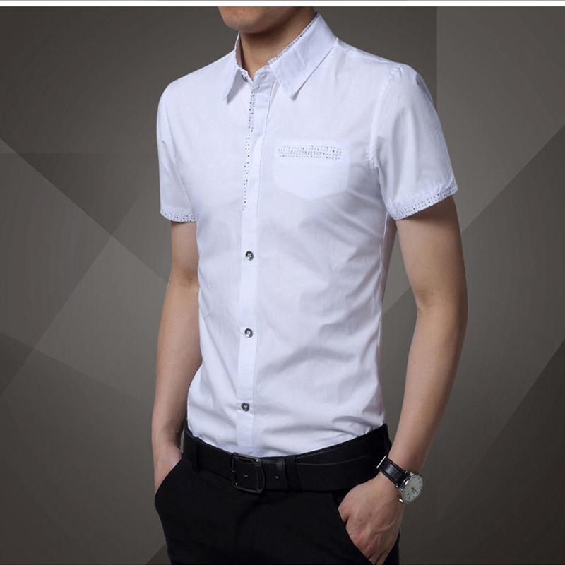 new brand high quality men button down shirts short sleeve