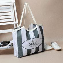 Eco Friendly Women Handbags Portable Tote Stripe Travel Big Bags Foldable Large Capacity Supermarket Shopping Bags Free Shipping(China (Mainland))