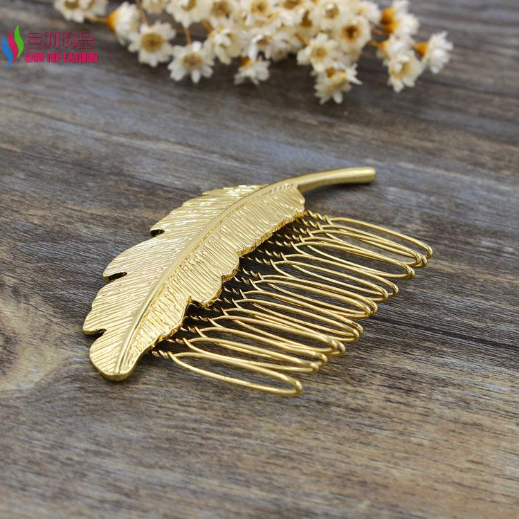 New arrival Gift jewelry fashion gold plated metal leaf hair comb hair jewelry accessories for women bijoux de cheveux(China (Mainland))