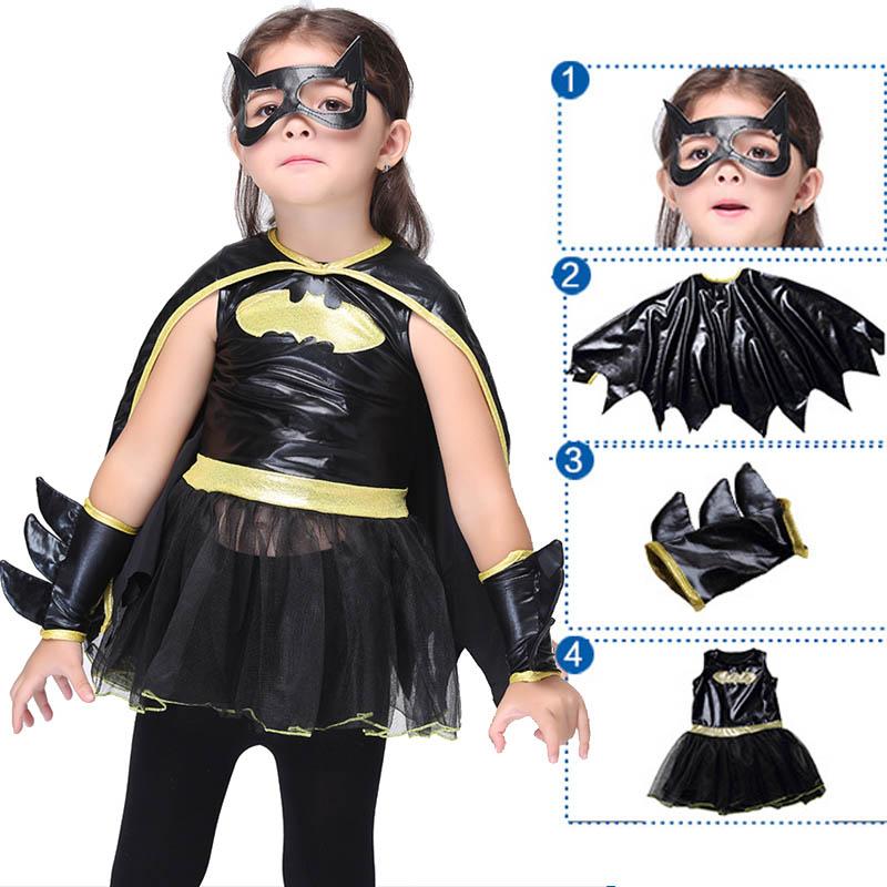 Batman Cosplay Costume For Girls Halloween Christmas Girls Party Dress Fancy Kids Children Superhero Batman Costume Black Suit(China (Mainland))
