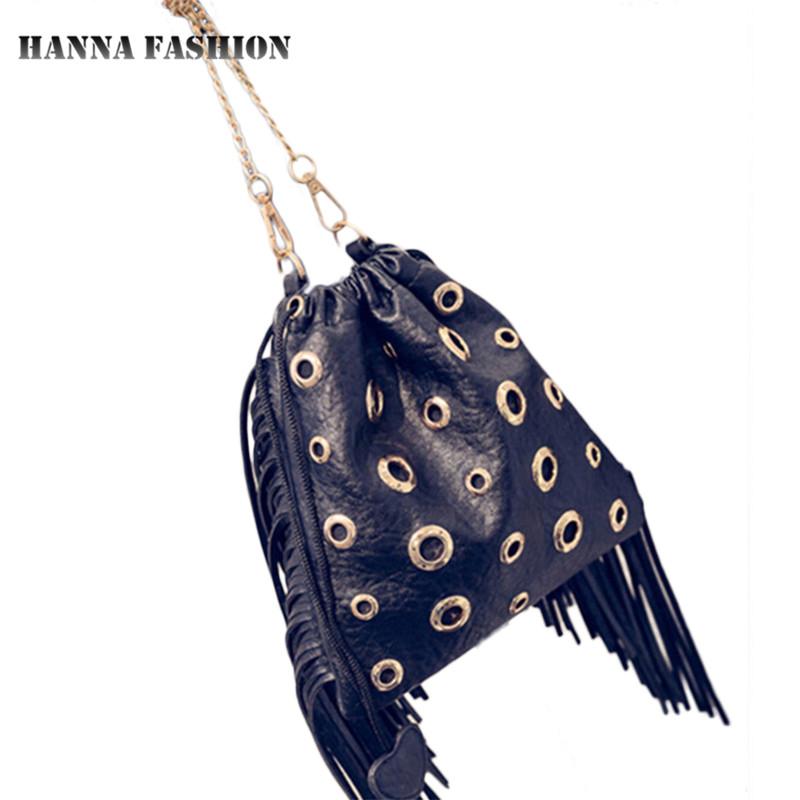 new fashion PU Leather Handbags Drawstring Bucket Bag chains tassel solid Shoulder bags Women Messenger Bags Bolsa Feminina(China (Mainland))