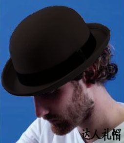 100% Wool Brown Bowler Hat luxury felt billycock hats for men with belt rolled brim chapeu casquette free shopping(China (Mainland))