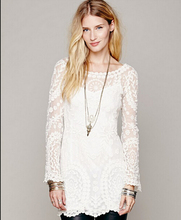 2016 Fashion Boho Style Woman Tops Lady Casual Beige Long Sleeve Hollow Crochet Lace Blouse Beach Clothing