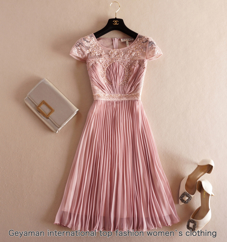 2016 spring summer designer womens dresses pink lavender pleated vintage flower embroidery beading chest fashion brand dressОдежда и ак�е��уары<br><br><br>Aliexpress