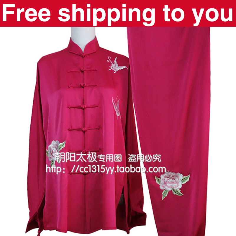 Free shipping Chinese Tai chi clothing/taiji performance exercise suit/butterfly peony embroidery/women/children/little girl<br><br>Aliexpress