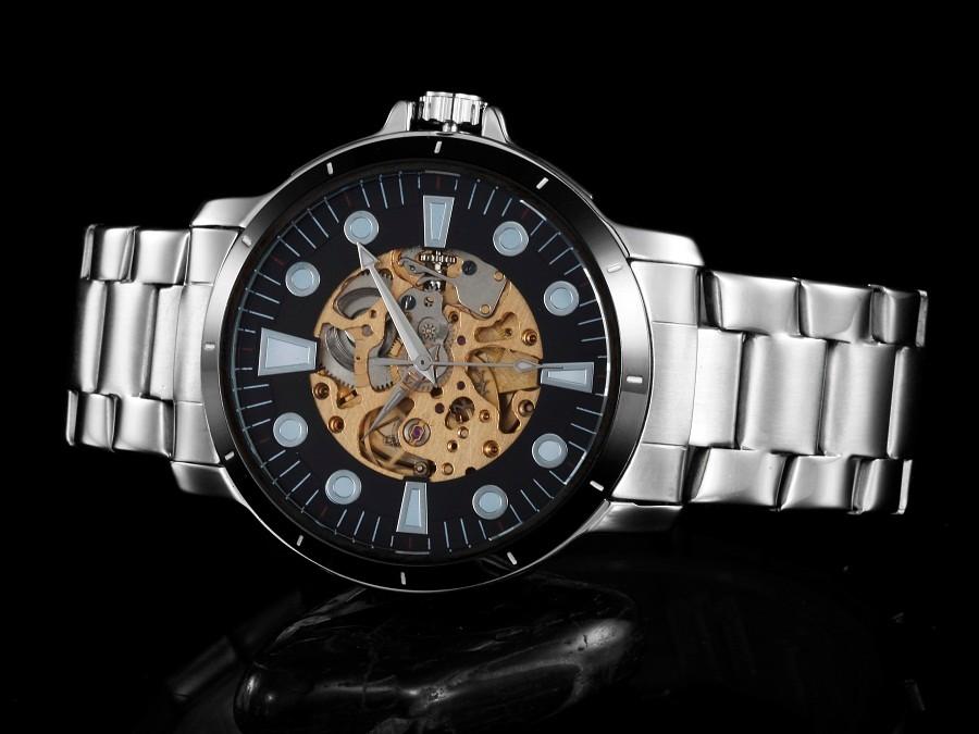 GOER марка мужская Скелет наручные часы Световой водонепроницаемый Техники автоматическая Нержавеющей Стали мужские спортивные Часы
