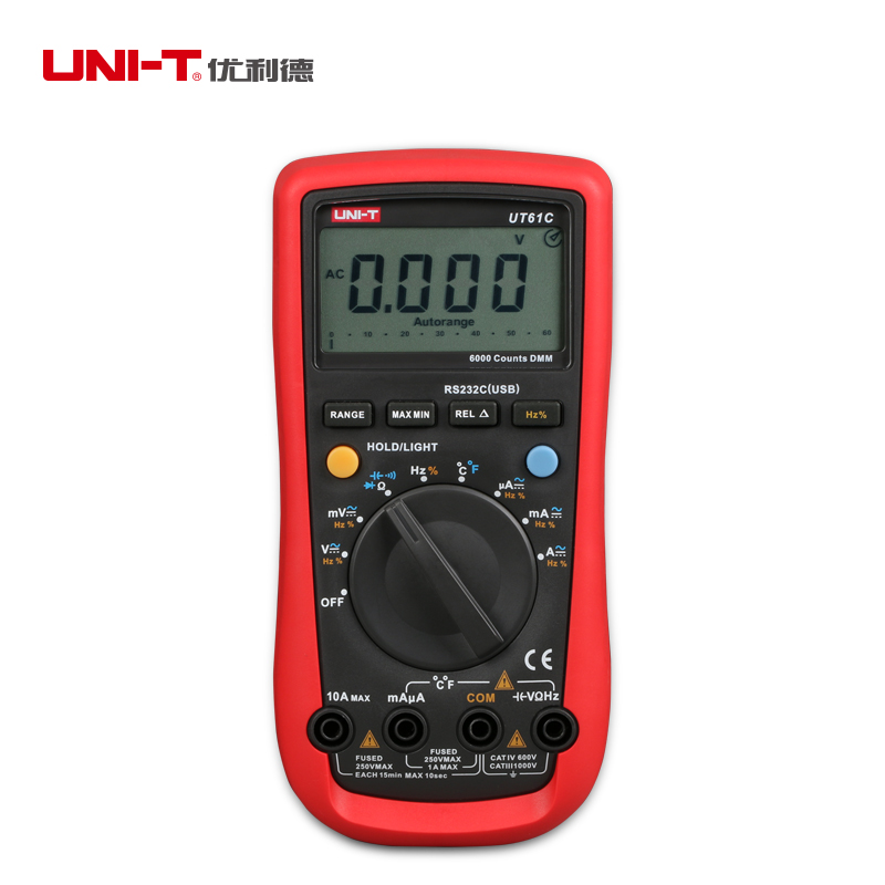 UNI-T UT61C Digital Multimeter Auto Range C/F Thermometer Function Low battery Indication with Backlight<br><br>Aliexpress