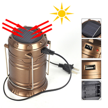 Ultra Bright Portable LED Camping Lantern Solar Flashlights, 1-Year Warranty,Outdoor Camping Equipment (Copper, Collapsible)(China (Mainland))