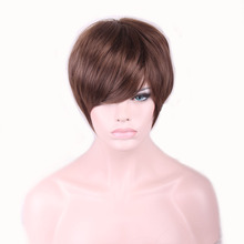 28cm Fashion Short Wigs Bob Ladies Synthetic Wig Women Tilted Frisette Short Hair Cosplay Wigs Brown HB88(China (Mainland))