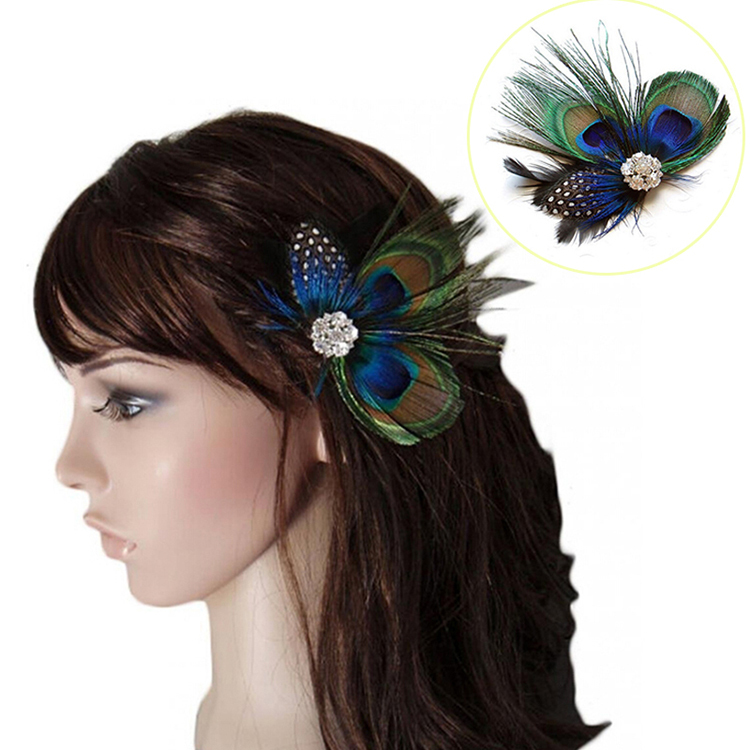 Baby Hair Clips Peacock Feather Hair Clip Pin for Girls Brides Bridesmaids Headwears Accessories(China (Mainland))