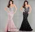 Vestido De Renda 2015 Sensual Pink Black Crystal Mermaid Evening Dresses Crystal Long Prom Gowns W437