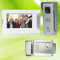 7 wired color video door phone intercom doorbell system kit set with outdoor IR camera white