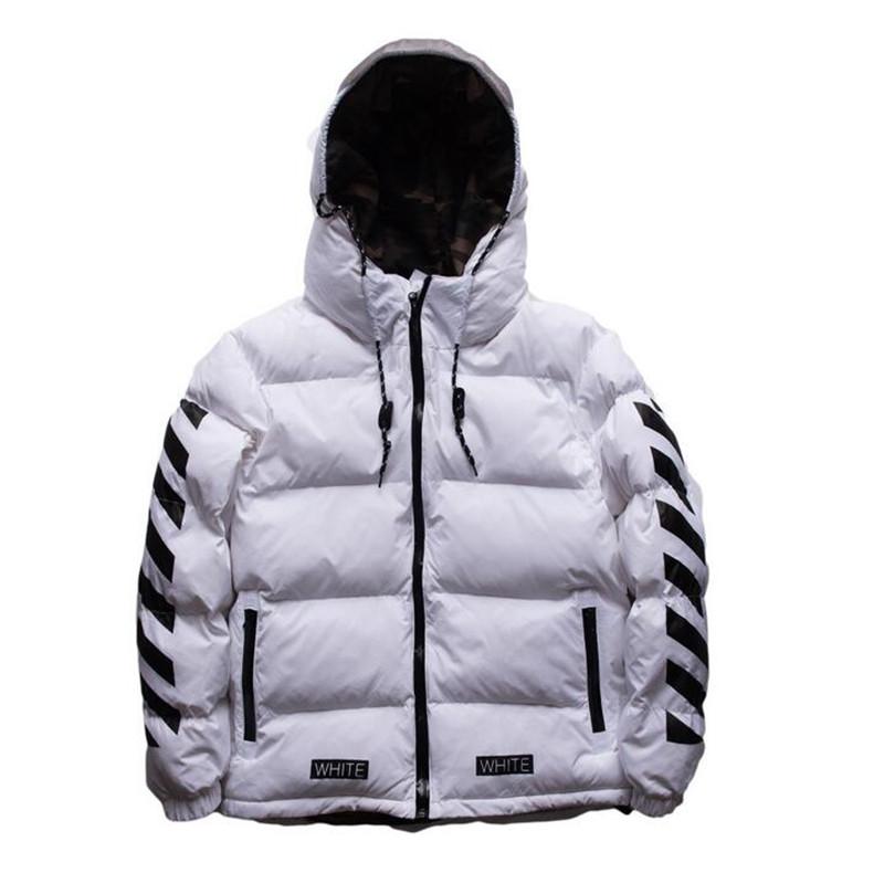 OFF WHITE Winter Men Parkas Jacket Hooded Coat Mens Winter Jackets And Coats Windbreaker Mens Parka Coats(China (Mainland))