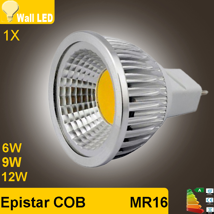 New High Power Lampada Led MR16 GU5.3 COB 6w 9w 12w Dimmable Led Cob Spotlight Warm Cool White MR 16 12V Bulb Lamp GU 5.3 220V(China (Mainland))