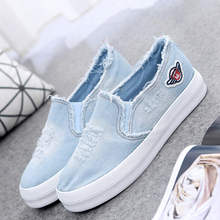 2016 new arrival  adult  women shoes cut out flat lace up rubber sole denim canvas casual shoes(China (Mainland))