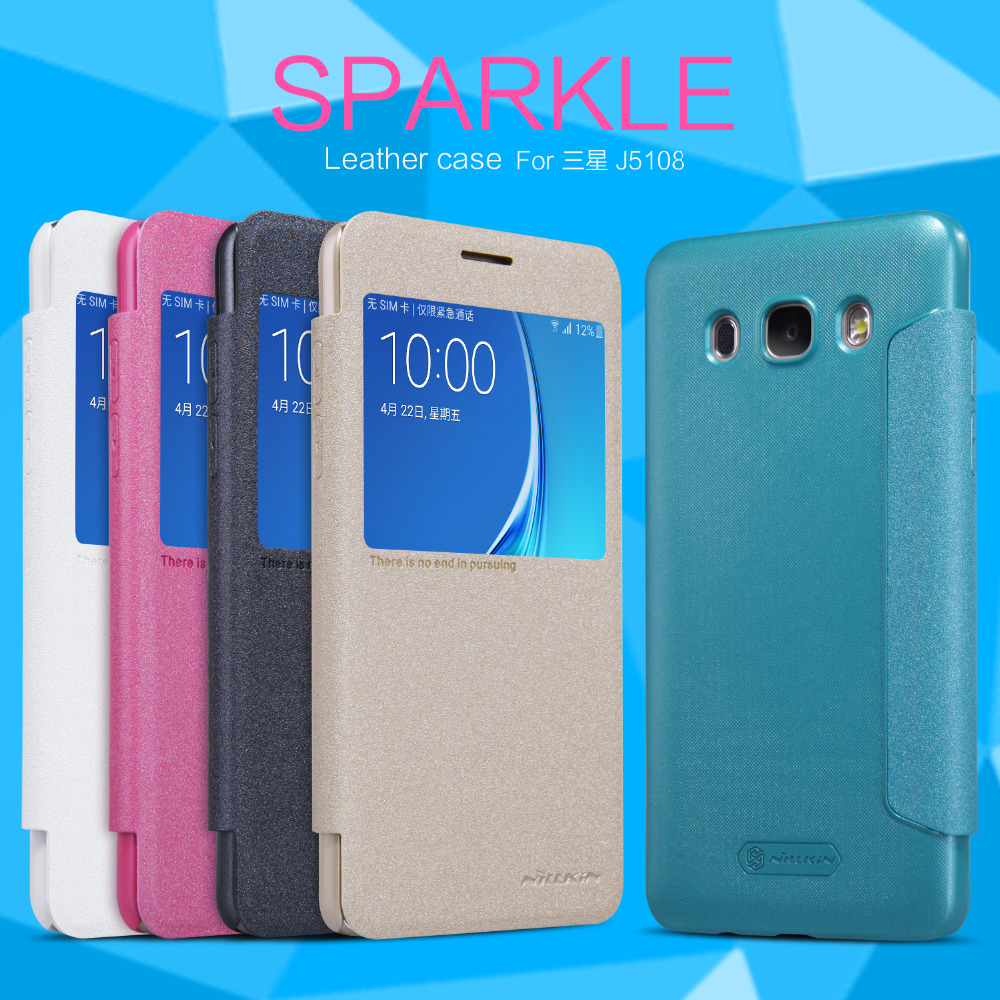 For Samsung Galaxy J5 2016 phone cases Nillkin Sparkle leather case for Samsung J5108 mobile phone protective cover(China (Mainland))