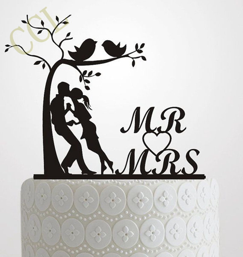 Wedding Cake Topper Silhouette Bride And Groom Elegant And Romantic MR Amp MRS With Tree And