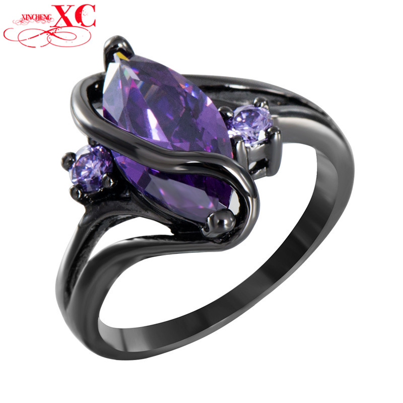 Charming S Amethyst Sapphire Vintage Jewelry Women Wedding Ring Anel Purple CZ Band 14KT Black Gold