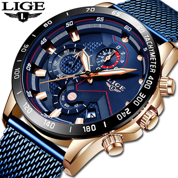 LIGE 2019 Mens Watches Top Brand Luxury Waterproof Fashion Watch Quartz Watch Men Sport Chronograph reloj hombre Free shipping