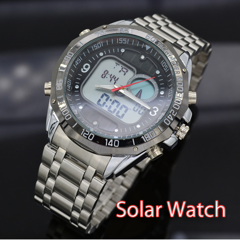 2015 full steel dress watch men solar power led digital quartz watch 3atm waterproof led solar for Solar power watches